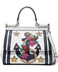 818dfb4d13 Dolce   Gabbana - Sicily Embellished Textured-leather Shoulder Bag - Lyst