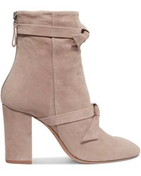 Alexandre Birman - Bow-embellished Suede Ankle Boots - Lyst