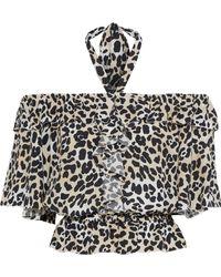 Temperley London - Woman Wild Cat Ruffled Leopard-print Crepe Halterneck Blouse Animal Print - Lyst