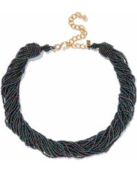Kenneth Jay Lane - Woman Gold-tone Iridescent Bead Necklace Petrol - Lyst