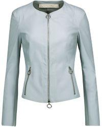 DROMe - Zip-detailed Leather Jacket Sky Blue - Lyst