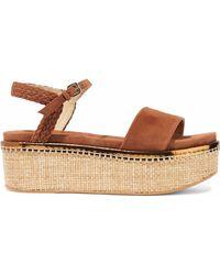 Stuart Weitzman - Braid-trimmed Suede Platform Sandals - Lyst