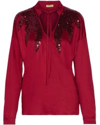Versace Jeans | Sequin-embellished Stretch-satin Wrap Blouse | Lyst