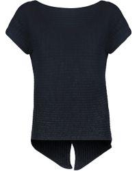 Autumn Cashmere - Ribbed-knit Cotton Top Storm Blue - Lyst