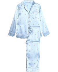 Olivia Von Halle Printed Silk-satin Pajama Set Baby Pink - Lyst d2bfb2dd1