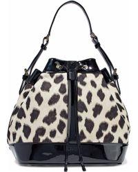Emporio Armani - Woman Patent Leather-trimmed Leopard-print Twill Bucket Bag  Black - 739bc7e25c352