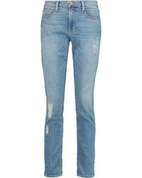 FRAME - Le Garcon Distressed Boyfriend Jeans - Lyst