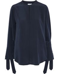 ecbe83c4034529 Equipment - Woman Sayer Tie-detailed Washed-silk Blouse Midnight Blue - Lyst