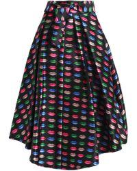 MILLY - Pleated Printed Twill Midi Skirt - Lyst