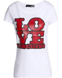 Love Moschino - Printed Stretch-cotton Jersey T-shirt - Lyst