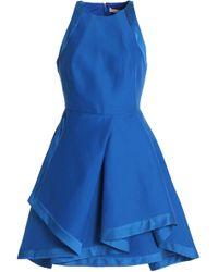 Halston - Satin-trimmed Cotton And Silk-blend Crepe Mini Dress - Lyst