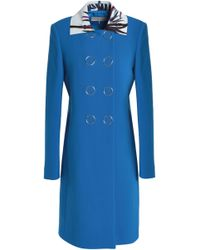 Emilio Pucci - Double-breasted Printed Leather-trimmed Wool-blend Coat Light Blue - Lyst