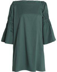 Tibi Woman Off-the-shoulder Shirred Cotton-poplin Mini Dress Emerald Size 2 Tibi Best Seller Nicekicks Cheap Price XOOrSzJ9Hi