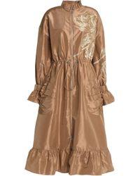 Sachin & Babi - Ruffle-trimmed Embroidered Silk-taffeta Raincoat - Lyst