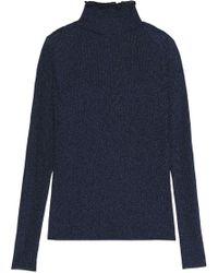 Carven - Metallic Ribbed-knit Turtleneck Jumper - Lyst