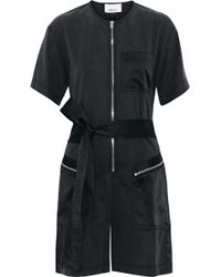 3.1 Phillip Lim - Satin-paneled Belted Twill Playsuit - Lyst
