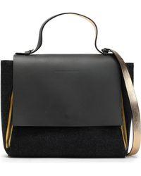 Brunello Cucinelli - Zip-detailed Leather-paneled Felt Shoulder Bag - Lyst
