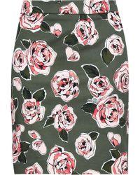 Love Moschino - Woman Floral-print Denim Mini Skirt Army Green - Lyst