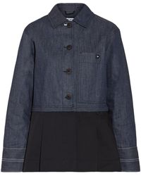 Elizabeth and James - York Panelled Pleated Cotton-poplin And Denim Jacket - Lyst