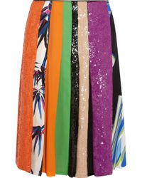 Emilio Pucci - Sequin-embellished Printed Silk Skirt - Lyst