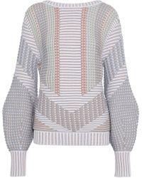 Peter Pilotto - Woman Crochet-knit Cotton-blend Sweater Light Gray - Lyst