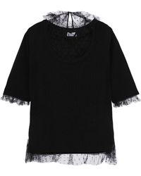 RED Valentino - Woman Point D'esprit-paneled Wool Sweater Black - Lyst