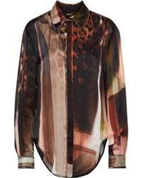 Roberto Cavalli - Printed Chain-trimmed Silk Blouse - Lyst