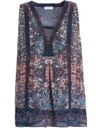 Joie - Woman Printed Silk Crepe De Chine Top Midnight Blue Size Xs - Lyst