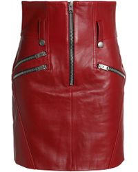 COACH - Zip-detailed Leather Mini Skirt - Lyst
