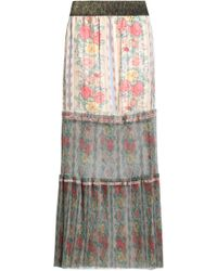 Anna Sui - Pleated Floral-print Satin-jacquard And Tulle Maxi Skirt - Lyst