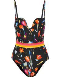 La Perla - Cutout Floral-print Swimsuit - Lyst