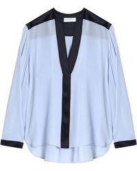 Amanda Wakeley - Satin-trimmed Silk Crepe De Chine Blouse Sky Blue - Lyst