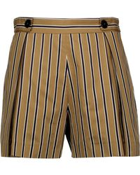 Sandro - Pendy Pleated Striped Cotton-blend Shorts - Lyst