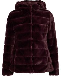 Line - Quilted Faux Fur Hooded Coat Burgundy - Lyst