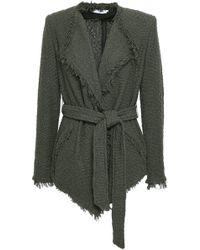 IRO - Woman Schala Belted Frayed Cotton-blend Bouclé Jacket Army Green - Lyst