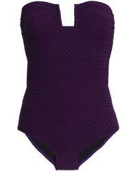 Prism - Cutout Jacquard Bandeau Swimsuit Dark Purple - Lyst