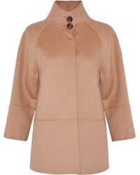 Carolina Herrera - Woman Wool, Angora And Cashgora-blend Coat Camel - Lyst
