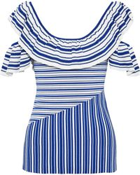 Rebecca Vallance - Corsica Cold-shoulder Ruffled Striped Jacquard-knit Top - Lyst