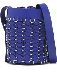 Paco Rabanne - Woman Ring-embellished Leather Bucket Bag Violet Size -- - Lyst
