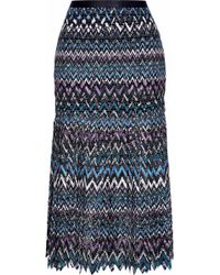Saloni - Pleated Guipure Lace Midi Skirt - Lyst