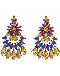 Elizabeth Cole - 24-karat Gold-plated, Swarovski Crystal And Stone Earrings Multicolour - Lyst