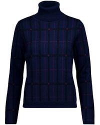 Carven - Metallic Checked Wool-blend Jacquard Turtleneck Sweater - Lyst