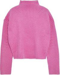 ae286dcea868 Diane von Furstenberg - Woman Cropped Ribbed Cashmere Sweater Violet - Lyst