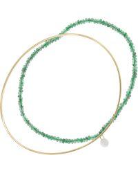 Inez & Vinoodh - 18-karat Gold, Emerald And Pearl Interlinked Bracelets - Lyst