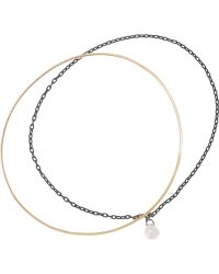 Inez & Vinoodh - 18-karat Rose Gold, Oxidized Silver And Pearl Interlinked Bracelets - Lyst