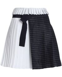 Victoria, Victoria Beckham - Panelled Striped Linen-blend And Satin Mini Skirt - Lyst