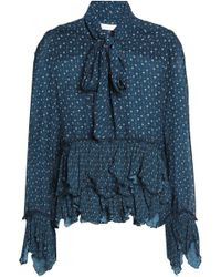 See By Chloé - Pussy-bow Printed Plissé-trimmed Crepe De Chine Blouse - Lyst