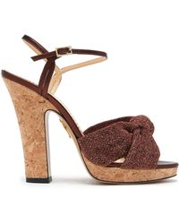 Charlotte Olympia - Farrah Knotted Lurex And Metallic Leather Cork Platform Sandals - Lyst