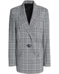 Alexander Wang - Double-breasted Prince Of Wales Checked Woven Blazer - Lyst