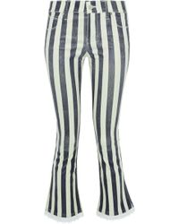 RTA - Kiki Denim-trimmed Striped Leather Kick-flare Trousers - Lyst